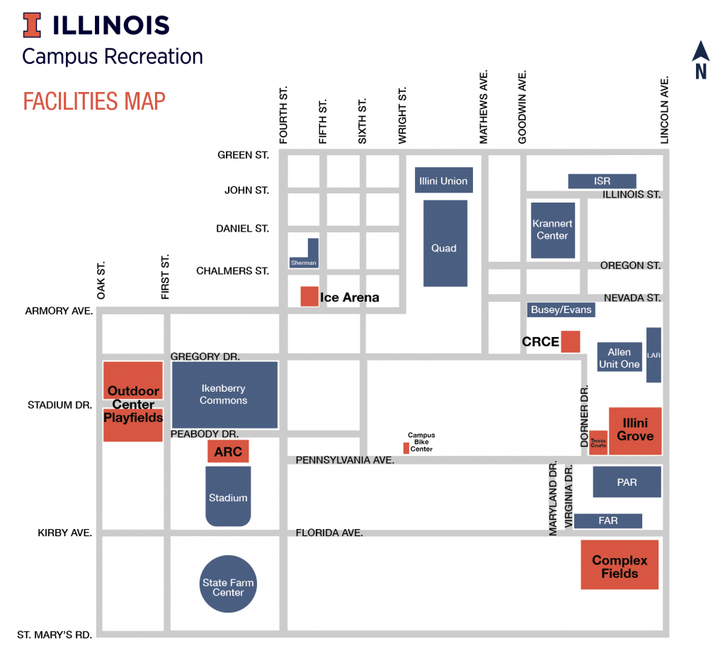 Fall 2018 Campus Recreation Facilities Map