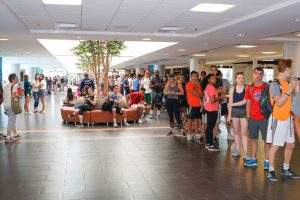 Students waiting in line at the 2017 Illini Frenzy.