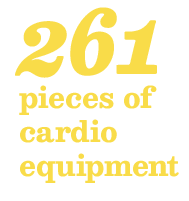 261 pieces of cardio equipment available in our facilities