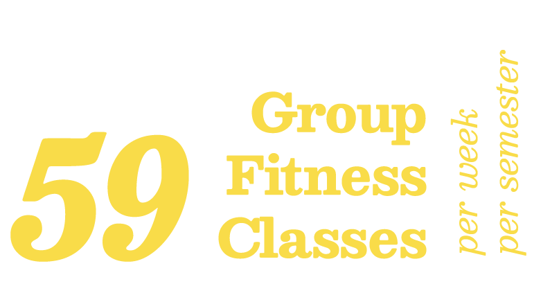 59 group fitness classes per week per semester offered