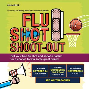 Graphic for the Fall 2019 Flu Shot Shoot-Out on October 24, October 29, and November 6 in the ARC Winter Garden