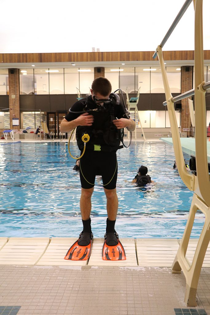 Student at Scuba Diving Lesson at ARC pool