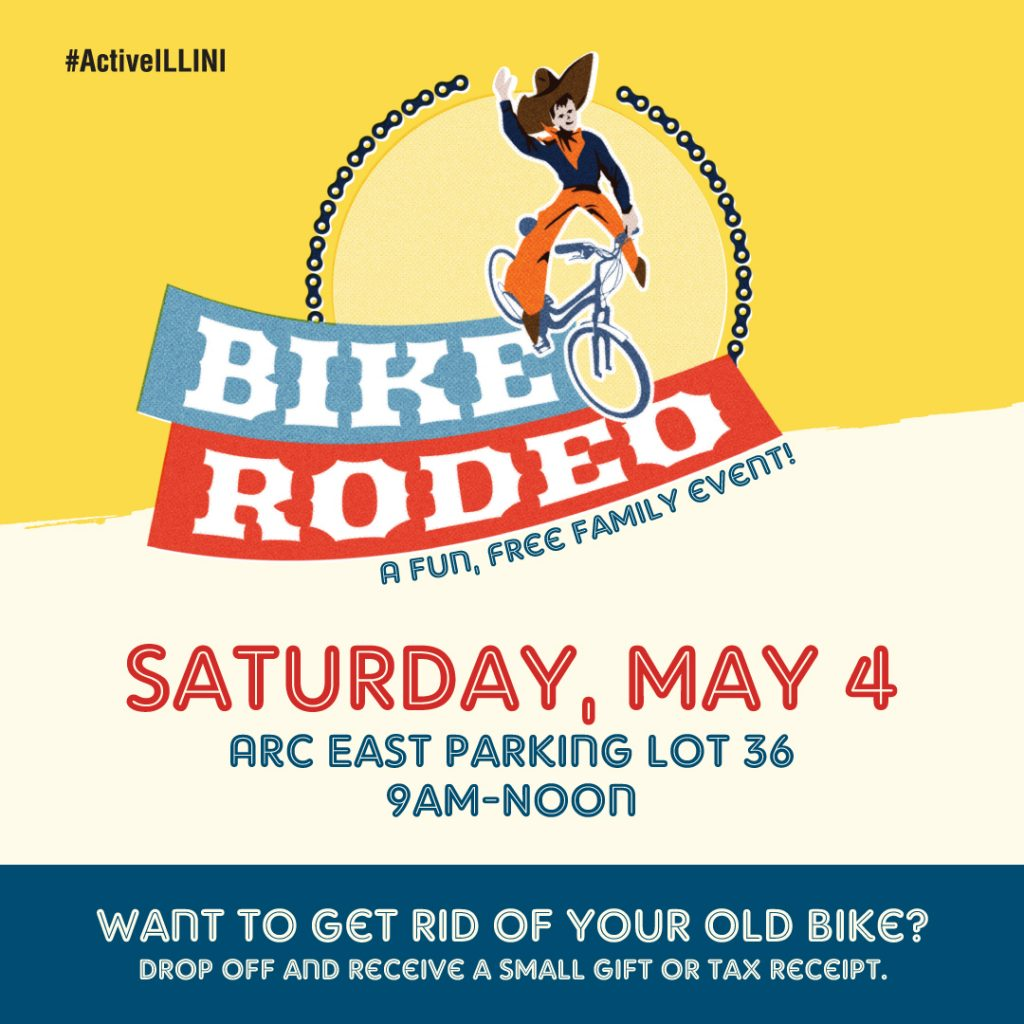 Spring 2019 Bike Rodeo Poster - Saturday, May 4 at ARC East parking lot 36