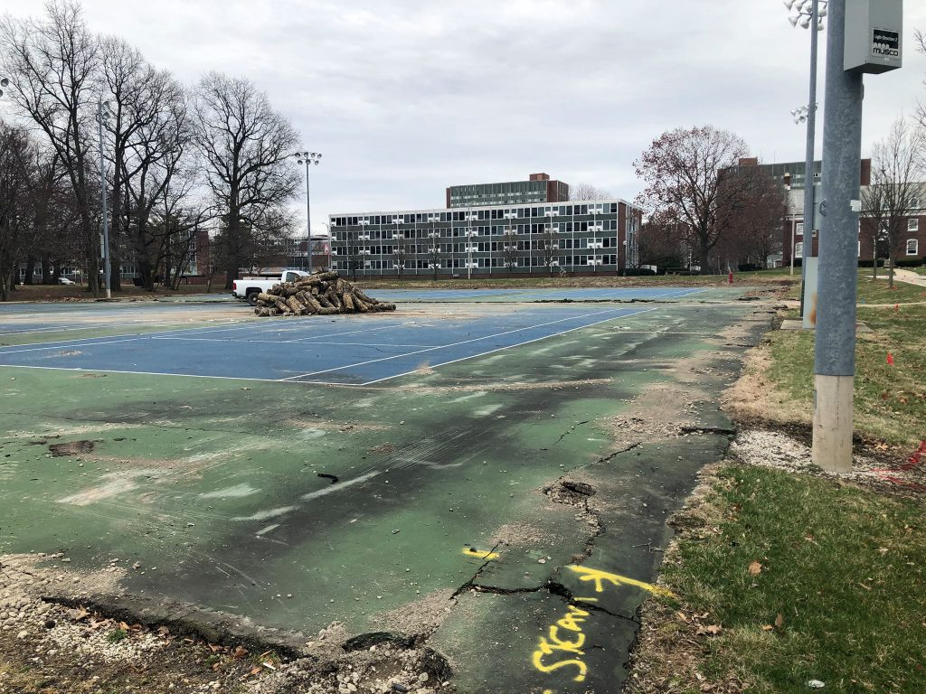 Remodeling the tennis courts by Illini Grove