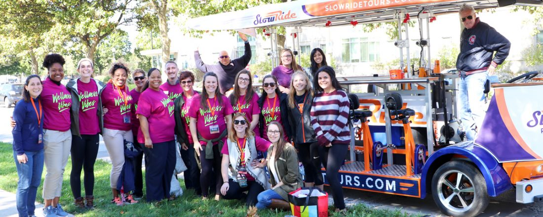 Photo of students and staff at a Fall 2017 Wellness on Wheels event