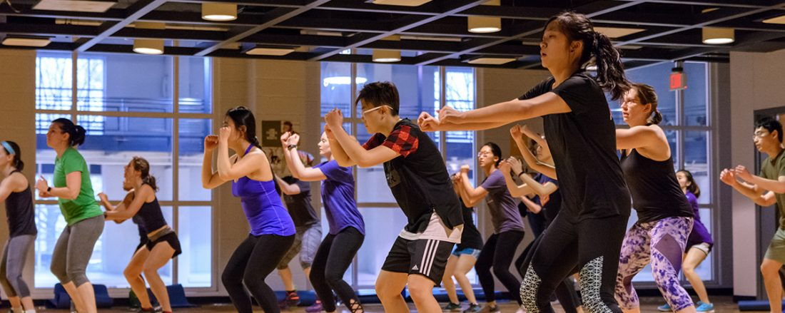 Students participating in the Body Combat class at the ARC.